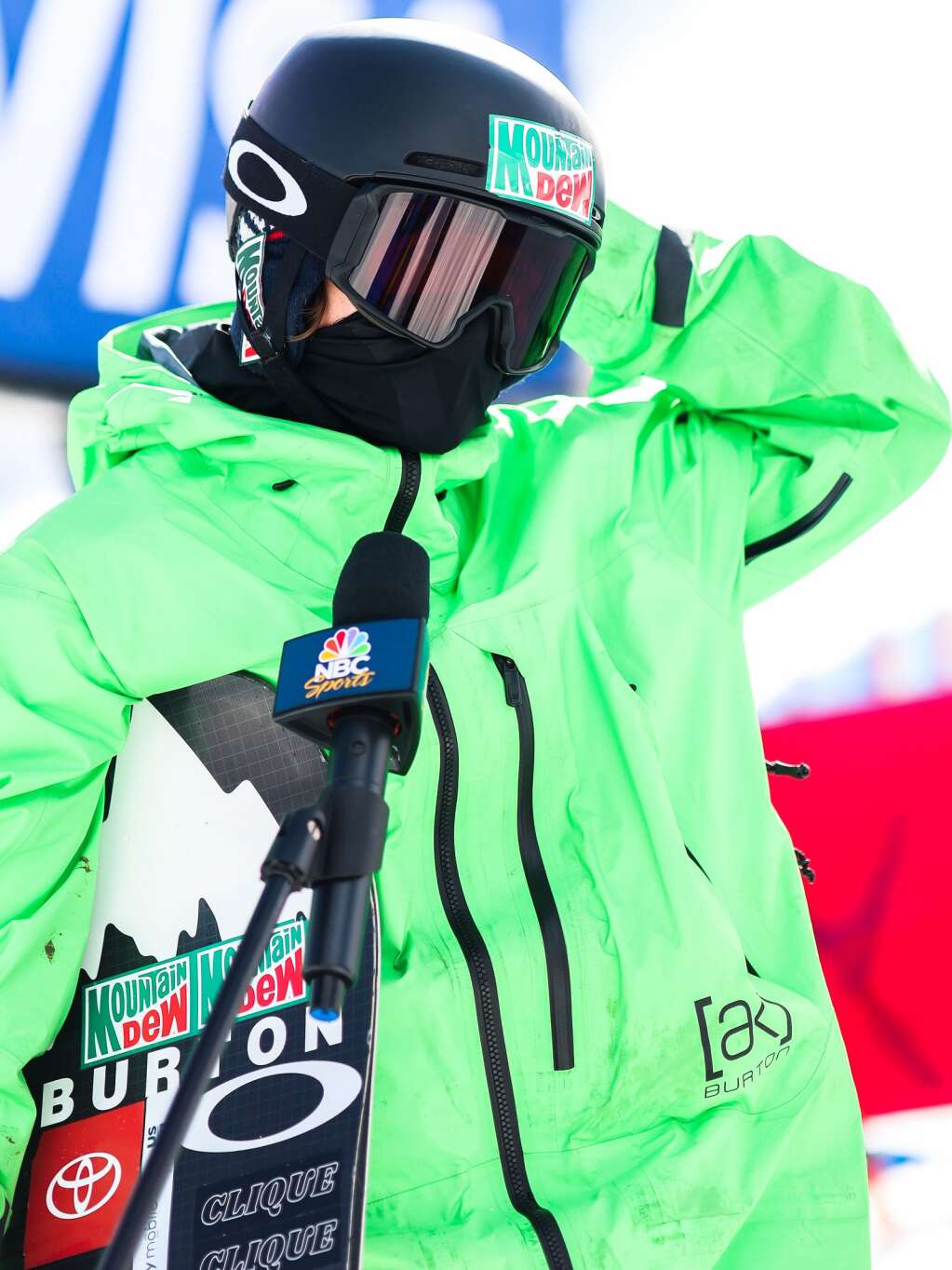 Summit County's Red Gerard is interviewed after the men's snowboard slopestyle finals at the U.S. Grand Prix and World Cup on Saturday, March 20, 2021, at Buttermilk Ski Area in Aspen. Photo by Austin Colbert/The Aspen Times.