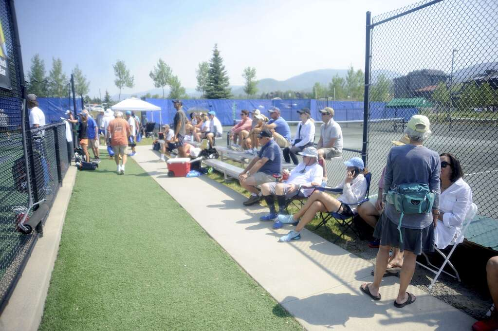 Crowds gathered at every court at the Steamboat Classic Pickleball Tournament on Saturday afternoon. (Photo by Shelby Reardon)