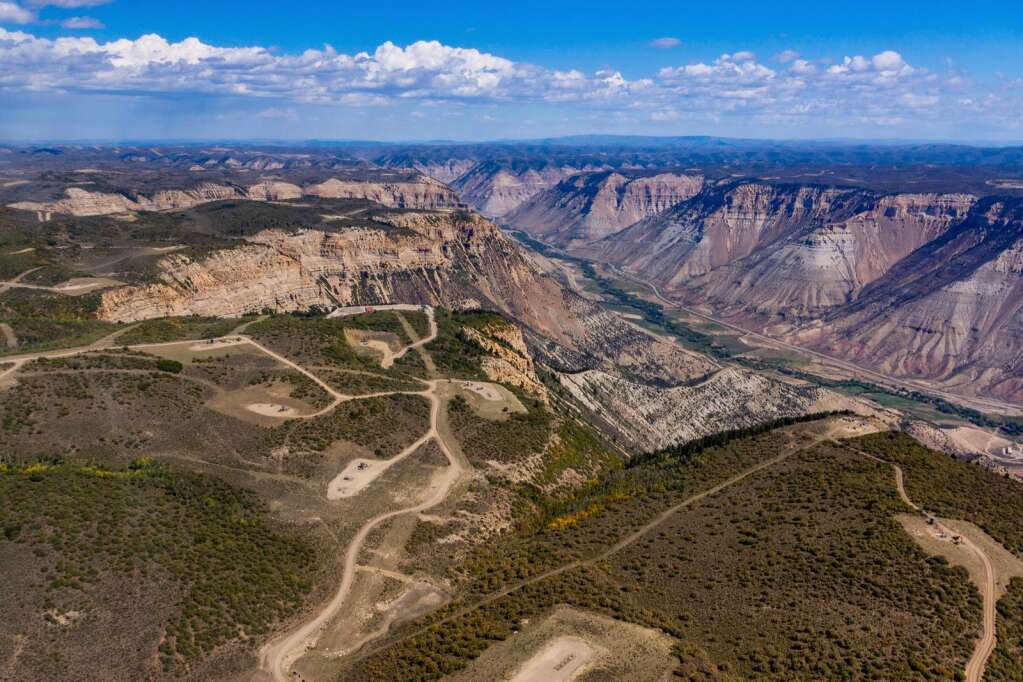 This image captured by airplane by Ecoflight shows prior drilling activity in western Colorado with the Colorado River in the background. | Ecoflight/courtesy photo