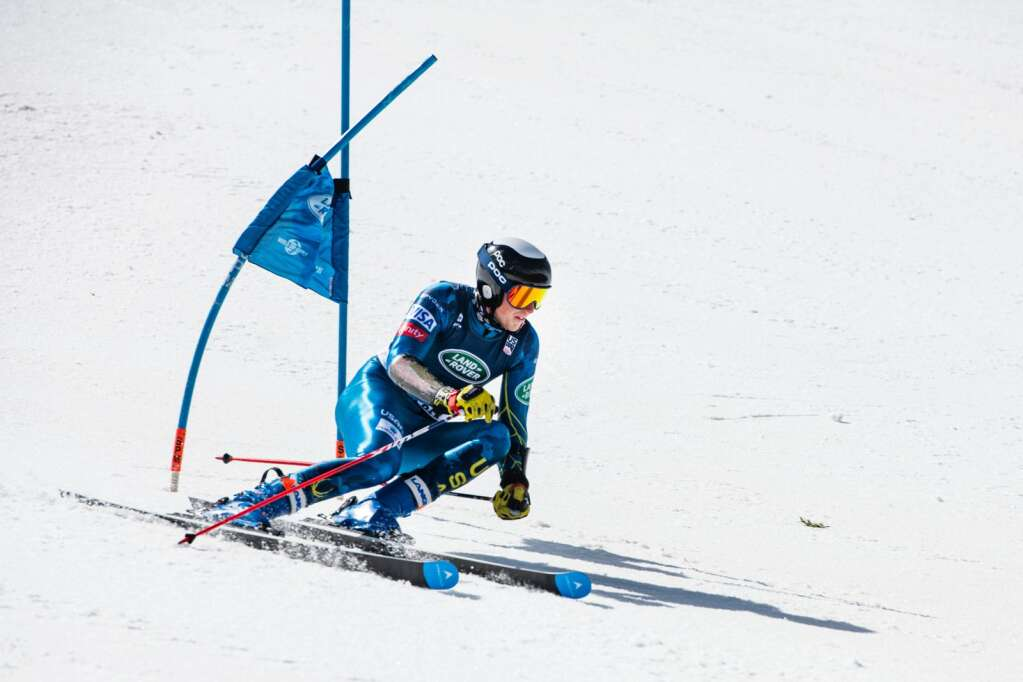 American alpine skier Jack Smith makes a turn around a gate during the second run of the U.S. Alpine Men's Giant Slalom Championships at Aspen Highlands on Tuesday, April 6, 2021. (Kelsey Brunner/The Aspen Times)