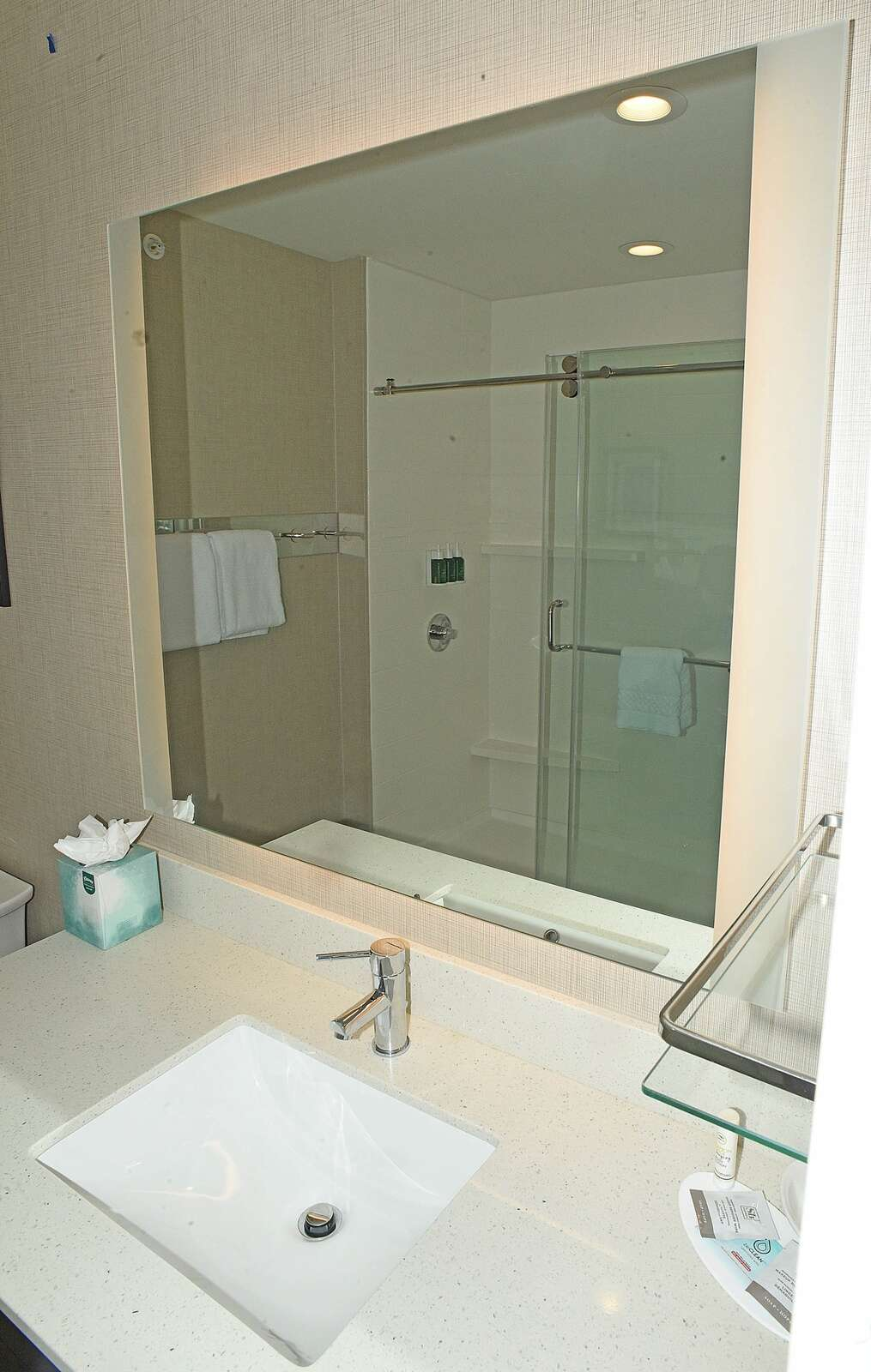 The Residence Inn by Marriott offers guests modern, spacious bathrooms. (Photo by John F. Russell)