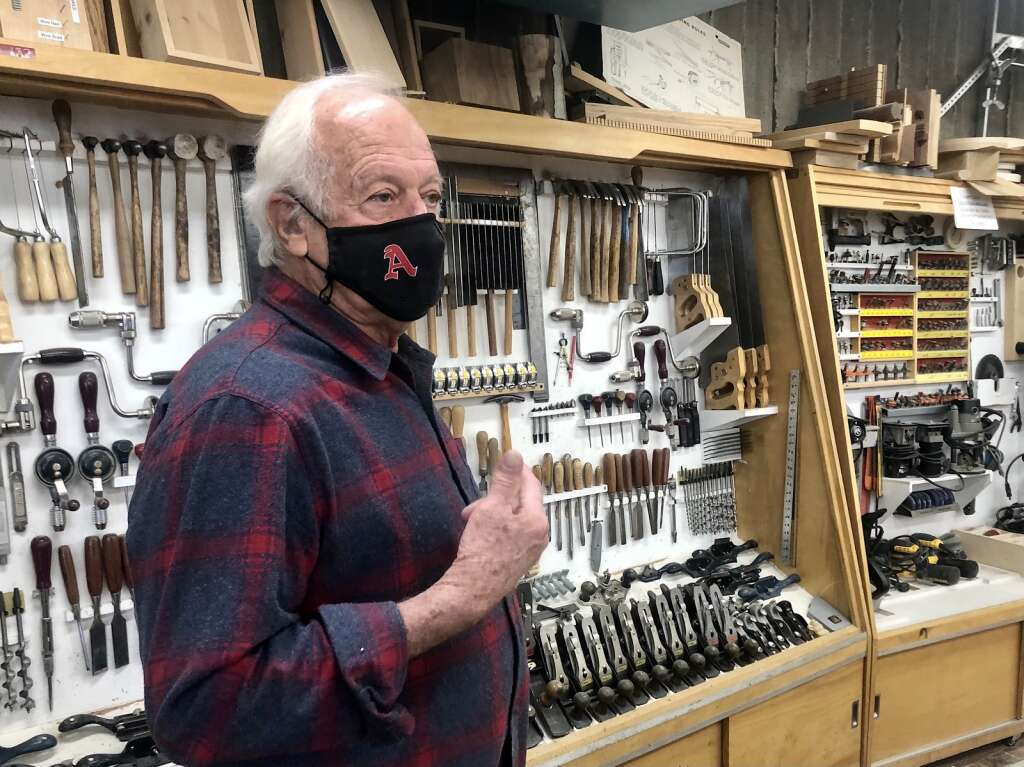 John Fisher shares stories from 50 years of teaching in his workshop at Aspen High School on March 22, 2021. | Kaya Williams/The Aspen Times