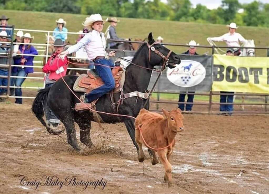 Aspen Hennessy, the 2020 Miss North Dakota Teen USA, is a high school rodeo athlete, competing in the breakaway roping and team roping. Photo by Craig Maley Photography.