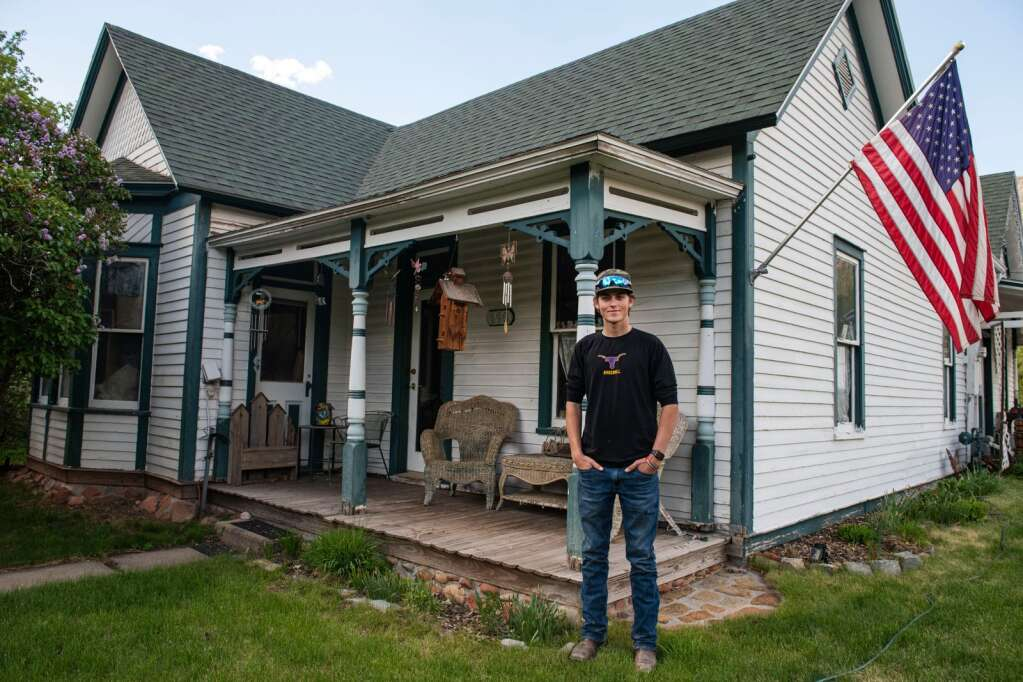Basalt High School graduating senior Tyler Sims stands outside of his childhood home in Basalt on Wednesday, May 19, 2021. Tyler is the 6th generation of his family with ties to Basalt. (Kelsey Brunner/The Aspen Times)