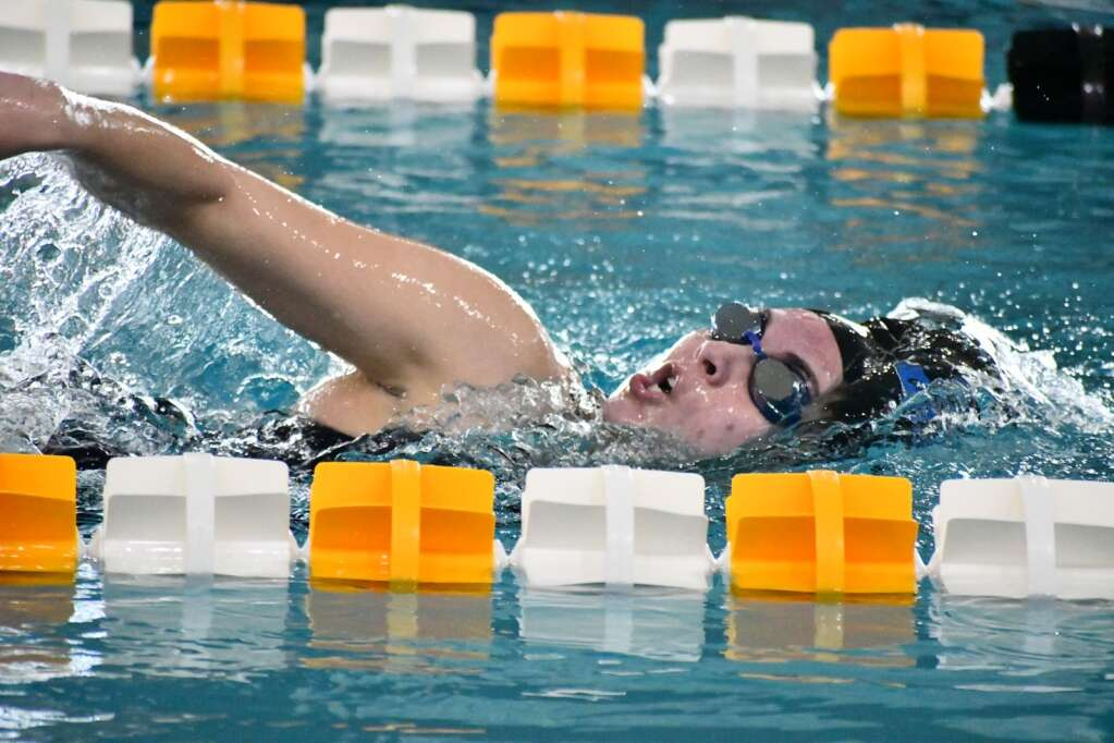Tiana Nichols competes in the 200-yard freestyle in the 3A Regional meet at CMU. (Andy Bockelman / For Craig Press)