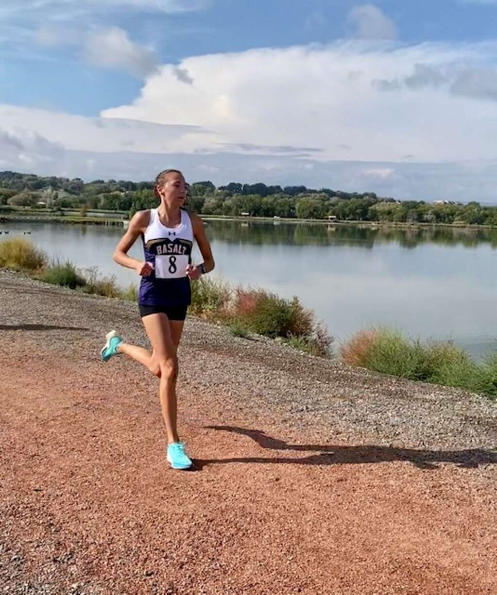 Basalt High School junior Katelyn Maley competes at a cross country meet on Friday, Oct. 1, 2021, hosted by Delta. Courtesy photo.