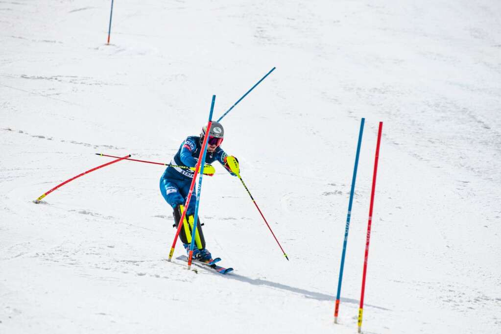 United States alpine skier Benjamin Ritchie competes in the second run of the U.S. Alpine Men's Slalom Championships at Aspen Highlands on Monday, April 5, 2021. Ritchie finished in first place. (Kelsey Brunner/The Aspen Times)