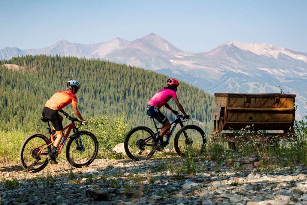 Racers ride with the Tenmile Range in view behind them during Tuesday's third stage of the six-day Breck Epic mountain bike race. | Photo by Liam Doran / Breck Epic