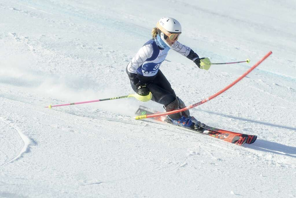 Steamboat Springs Winter Sports Club skier Maren Elvidge competes in slalom during the Colorado Ski Cup at Steamboat Resort on Wednesday, March 30. (Photo by Shelby Reardon)