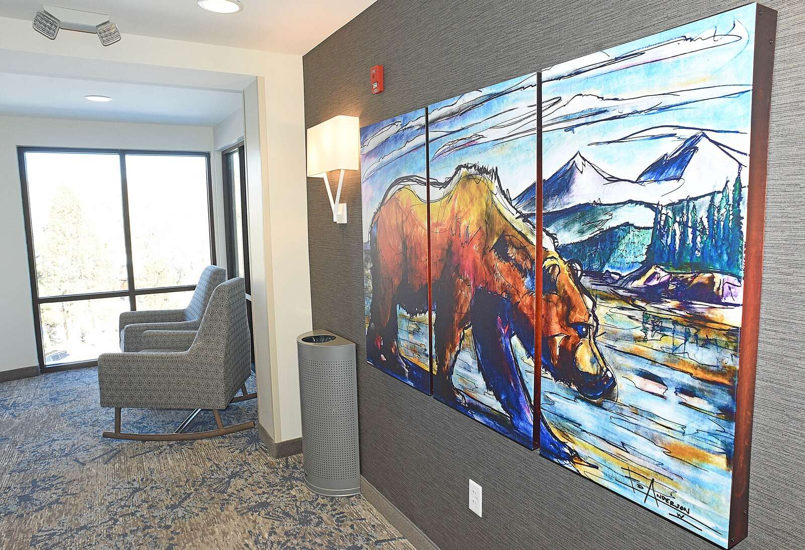 Grant D'Entremont, general manager at the Residence Inn by Marriott, said guests will see plenty of artwork of wildlife on the walls of the hotel, and he said it's not uncommon to see bears and moose just outside the hotel along nearby Fish Creek. (Photo by John F. Russell)