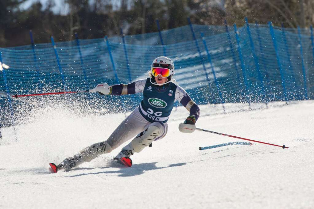 American alpine skier Paige Doyle competes in the Women's Alpine Combined FIS event at Aspen Highlands on Wednesday, April 14, 2021. (Kelsey Brunner/The Aspen Times)