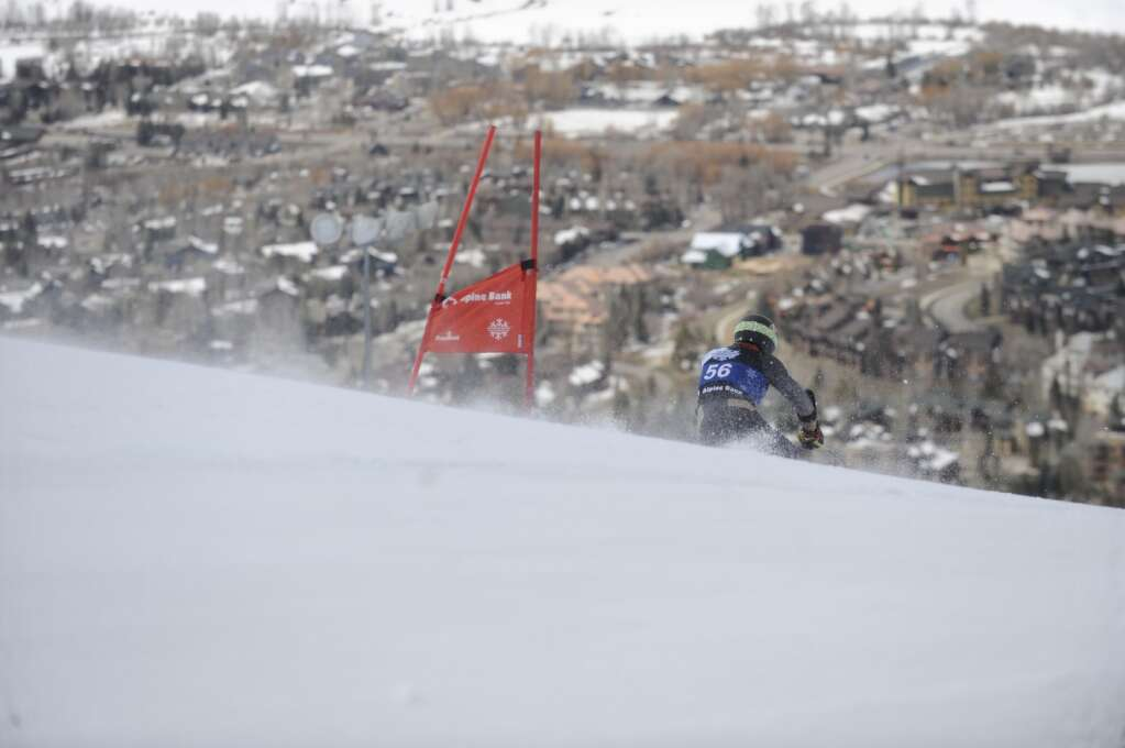 Steamboat Springs resident and Colorado University skier Chase Seymour rips down the Giant Slalom course of the Spring Series at Steamboat Resort on Tuesday.