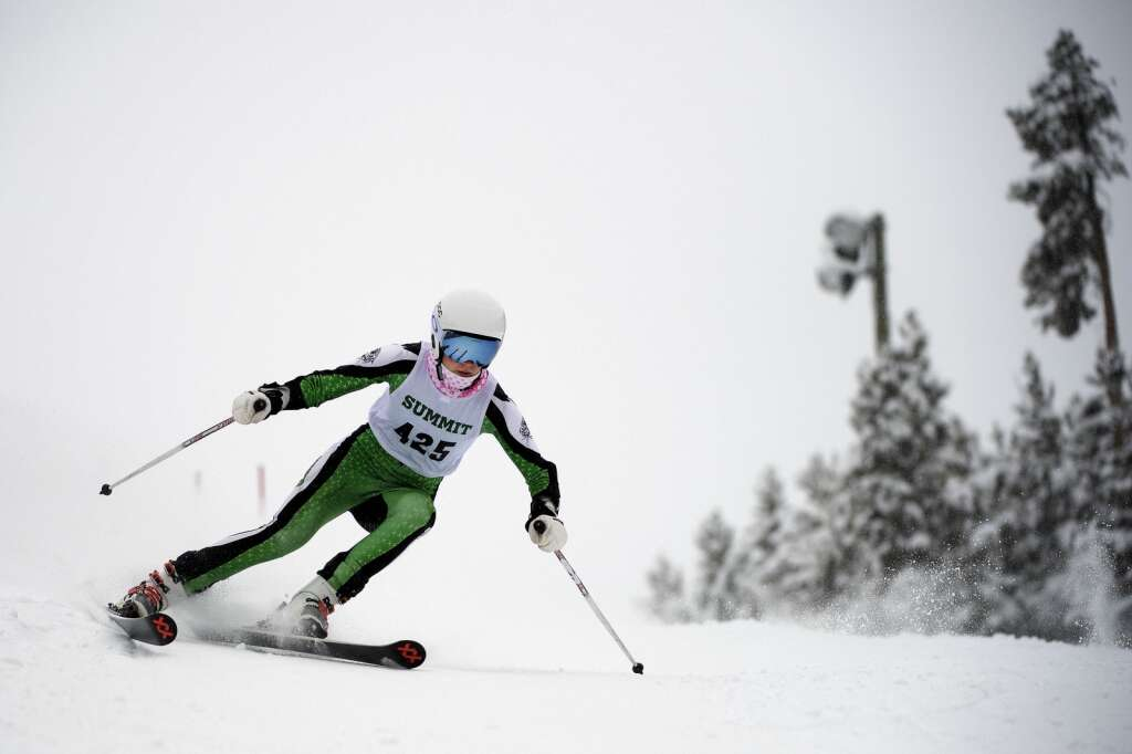 Summit High School Alpine ski team racer Victoria Uglyar competes in giant slalom during a ski competition at Keystone Resort on Friday, Feb. 5, 2021. | Photo by Jason Connolly / Jason Connolly Photography