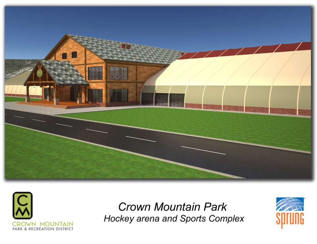 This rendering shows the possible design for a hockey arena and indoor recreation facility being pursued in the midvalley. | Crown Mountain Park/courtesy image