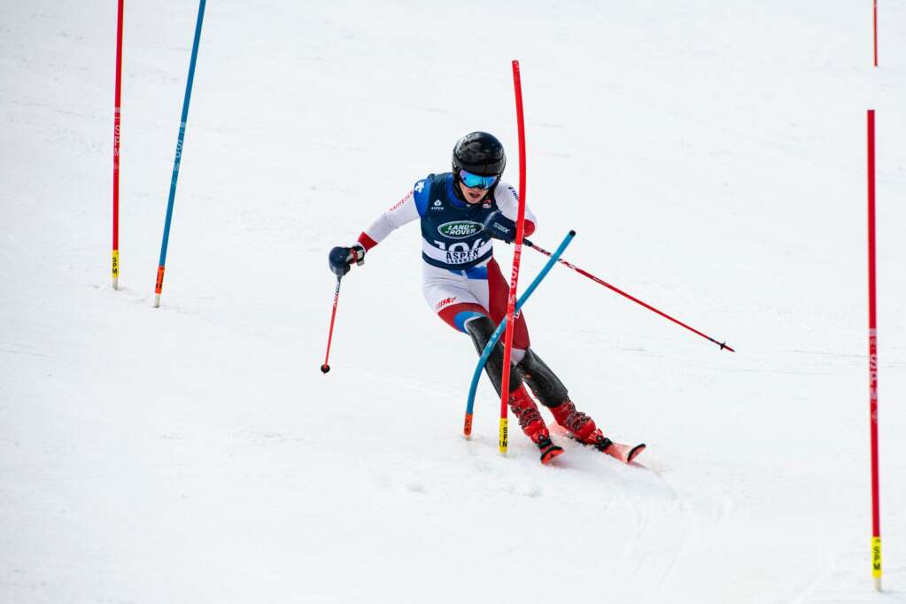 American alpine skier Gunnar Travis makes turns during the second run of the U.S. Alpine Championships at Aspen Highlands on Wednesday, April 7, 2021. (Kelsey Brunner/The Aspen Times)