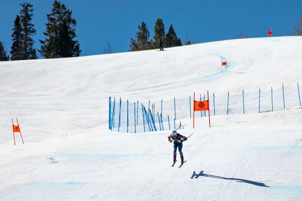American alpine skier Cheyenne Brown flies into the final stretch of the Women's Downhill National Championships at Aspen Highlands on Saturday, April 10, 2021. (Kelsey Brunner/The Aspen Times)