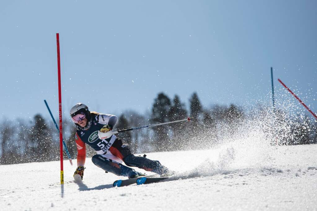 Canadian alpine skier Britt Richardson competes in the Women's Alpine Combined FIS event at Aspen Highlands on Wednesday, April 14, 2021. Richardson did not complete the first run. (Kelsey Brunner/The Aspen Times)
