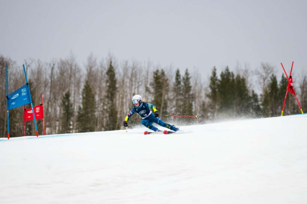 American alpine skier Emma Resnick competes in the Women's Giant Slalom National Championship at Aspen Highlands on Thursday, April 15, 2021. Resnick finished tenth overall. (Kelsey Brunner/The Aspen Times)