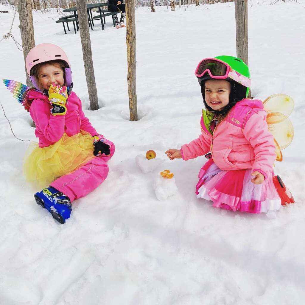 Ashtyn, 5, and Andee Lamb, 2, dressed up as strawberry fairy unicorns while competing in the STARS Mini Mountain Challenge with family last weekend. The pair loved finding animals signs off of Why Not trail at Steamboat Resort.