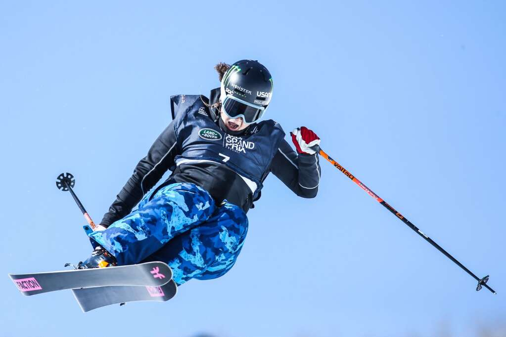 American Devin Logan competes in the women's freeski halfpipe qualifier of the Land Rover U.S. Grand Prix and World Cup on Friday, March 19, 2021, at Buttermilk Ski Area in Aspen. Photo by Austin Colbert/The Aspen Times.