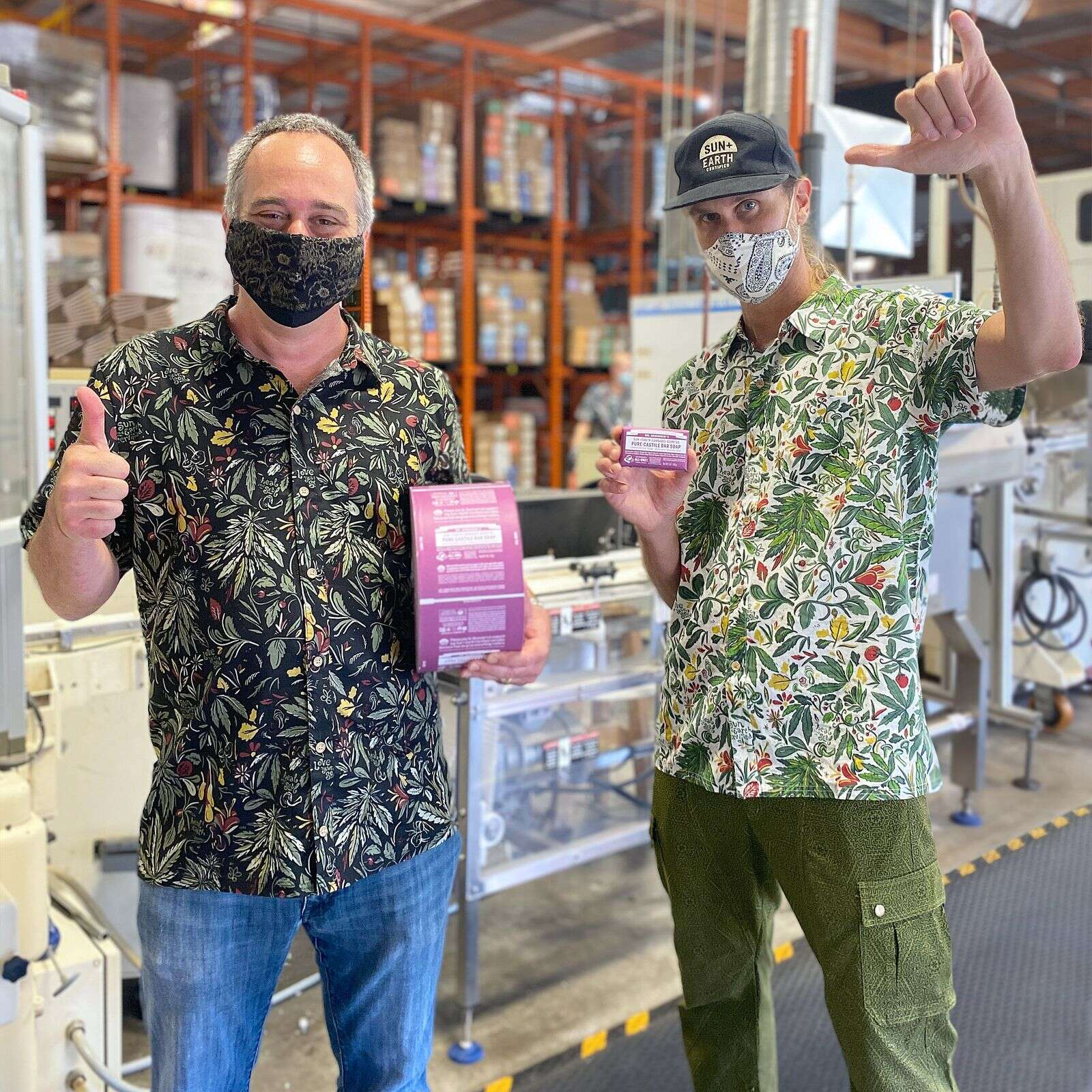Dr. Bronner's president Michael Bronner, left, and CEO (cosmic engagement officer) David Bronner with the first batch of Sun+Earth Cannabis Scented Pure-Castile Bar Soap. | Courtesy Dr. Bronner's