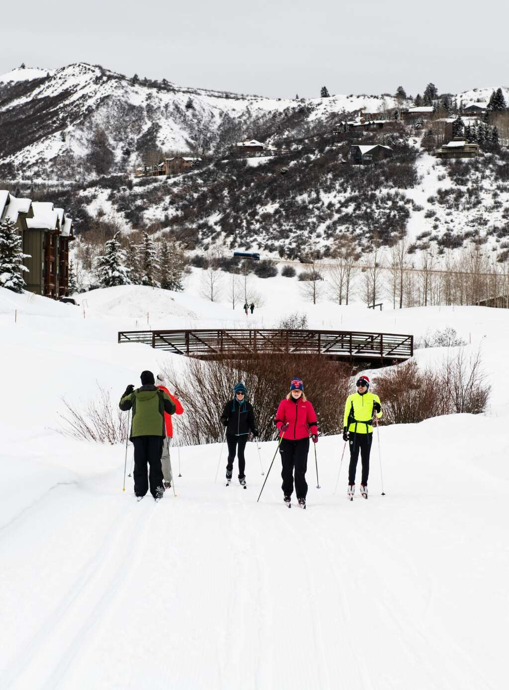 Two groups of cross country skiers pass each other on one of the nordic trails on the golf course in Snowmass on Friday, January 3, 2020. (Kelsey Brunner/The Aspen Times)