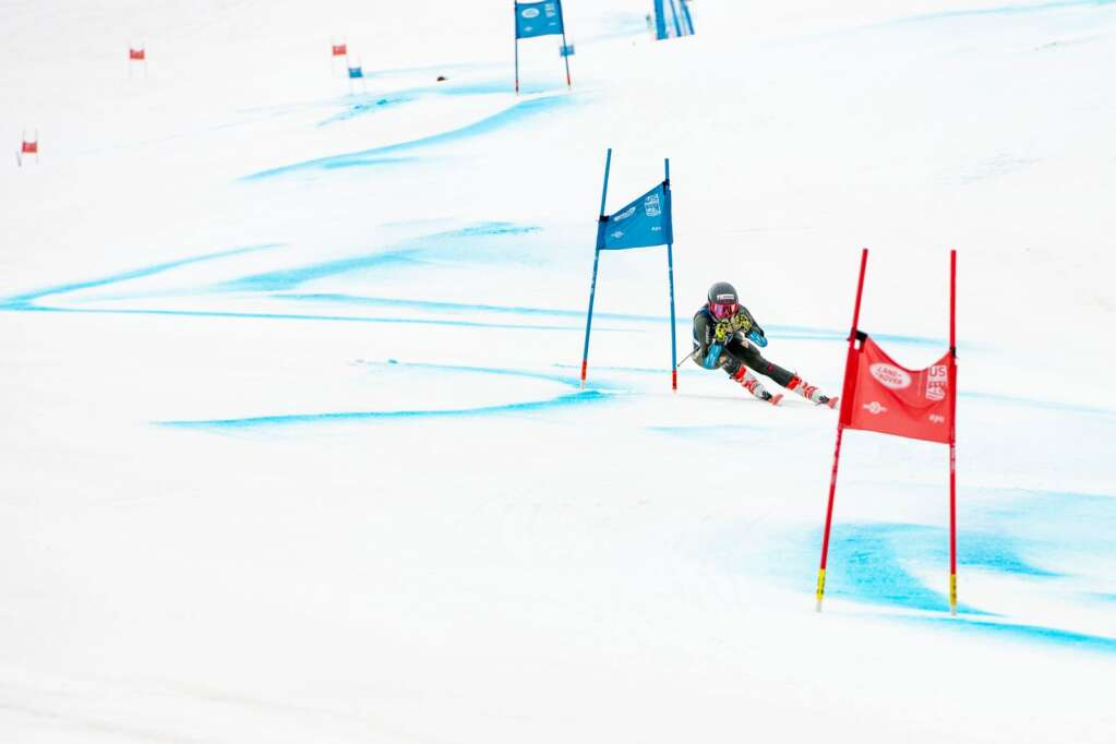 Canadian alpine skier Kiara Alexander competes in the Women's Giant Slalom National Championship at Aspen Highlands on Thursday, April 15, 2021. Alexander finished 15th overall. (Kelsey Brunner/The Aspen Times)
