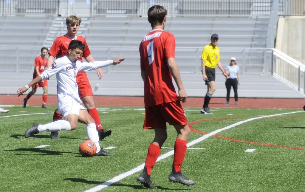 An Eagle Valley player puts a shot on goal during a game at Steamboat Springs on Saturday afternoon. (Photo by Shelby Reardon)