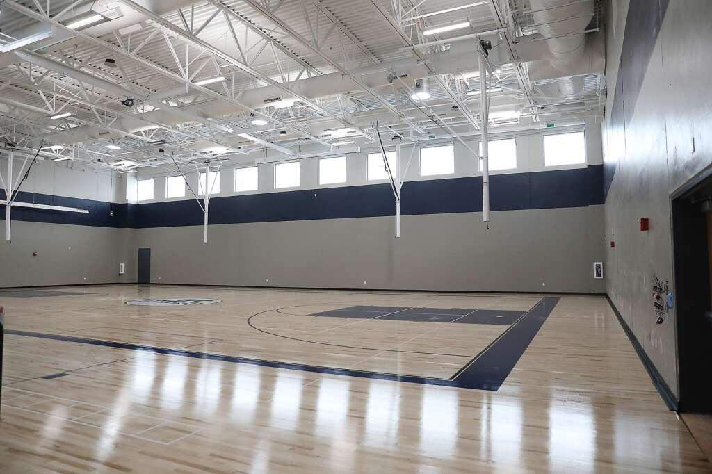 The new gym at the Sleeping Giant School is nearly complete and ready for young athletes to test their skills. (Photo by John F. Russell)