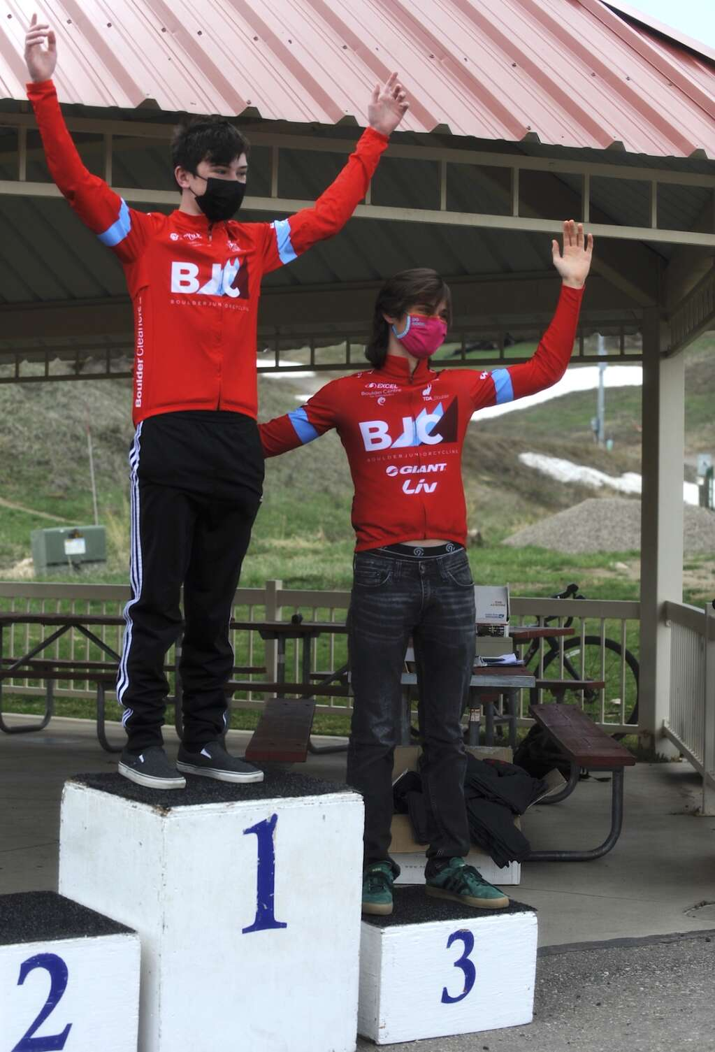 Luke Robinson and Jude Schafer of Boulder Junior Cycling took first and third in the Steamboat Roubaix on Saturday. (Photo by Shelby Reardon)