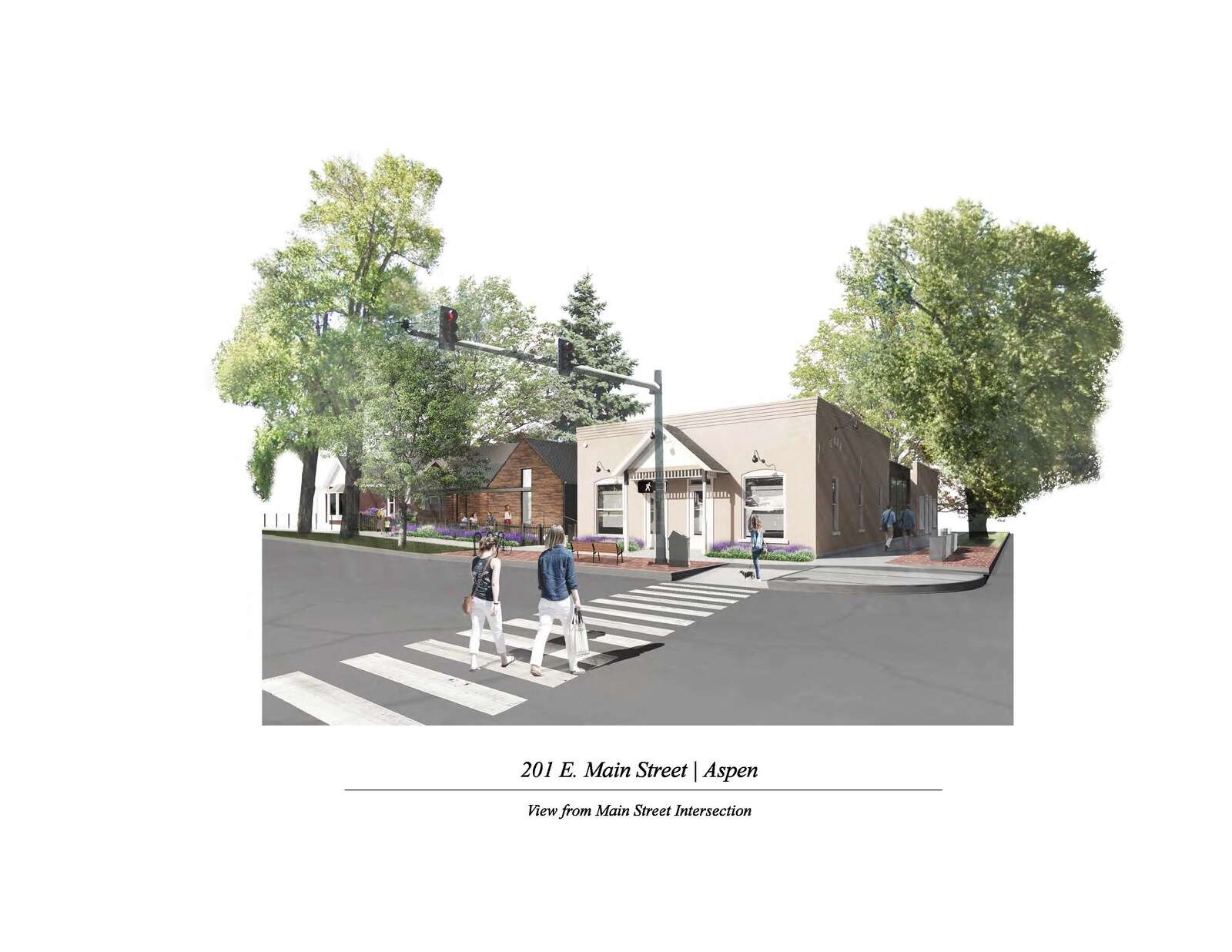 An architect's rendering of a redeveloped Main Street Bakery.