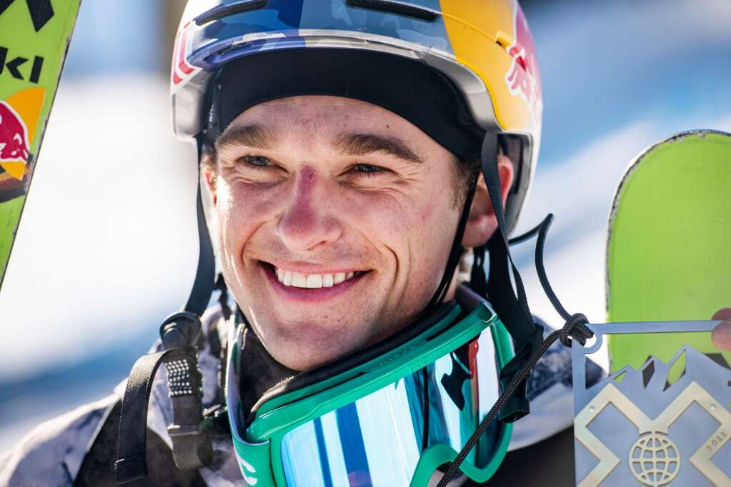 Freestyle skier Nick Goepper stands at the bottom of the slopestyle course after taking gold in the men's ski final at X Games 2021 at Buttermilk on Sunday, Jan. 31, 2021. (Kelsey Brunner/The Aspen Times)