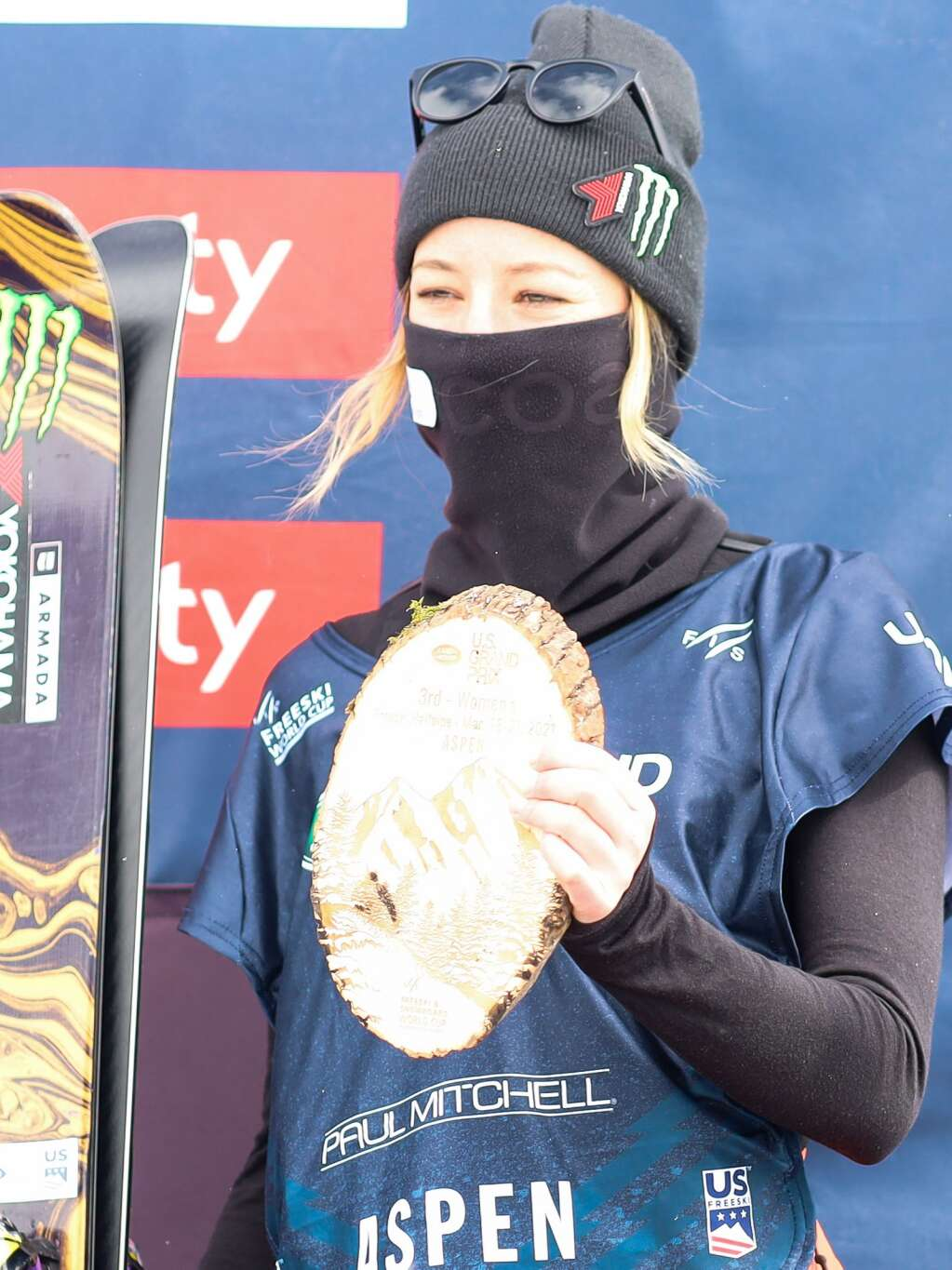Brita Sigourney stands on the podium of the women's freeski halfpipe final of the U.S. Grand Prix on Sunday, March 21, 2021, at Buttermilk Ski Area in Aspen. Photo by Austin Colbert/The Aspen Times.