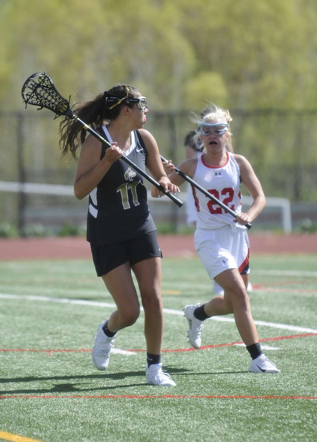 Steamboat Springs senior Erica Simmons defends during a girls lacrosse home game against Battle Mountain on Wednesday evening. (Shelby Reardon)