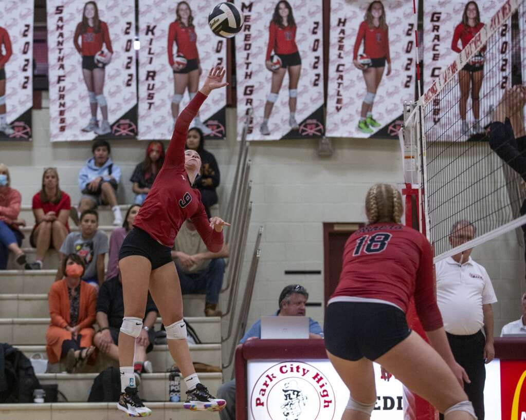 Park City High School senior Emma Cusimano (9) spikes the ball over the net during the Miners' matchup against Highland High School Tuesday evening, Sept. 7, 2021. The Miners swept the Rams 3-0. (Tanzi Propst/Park Record)