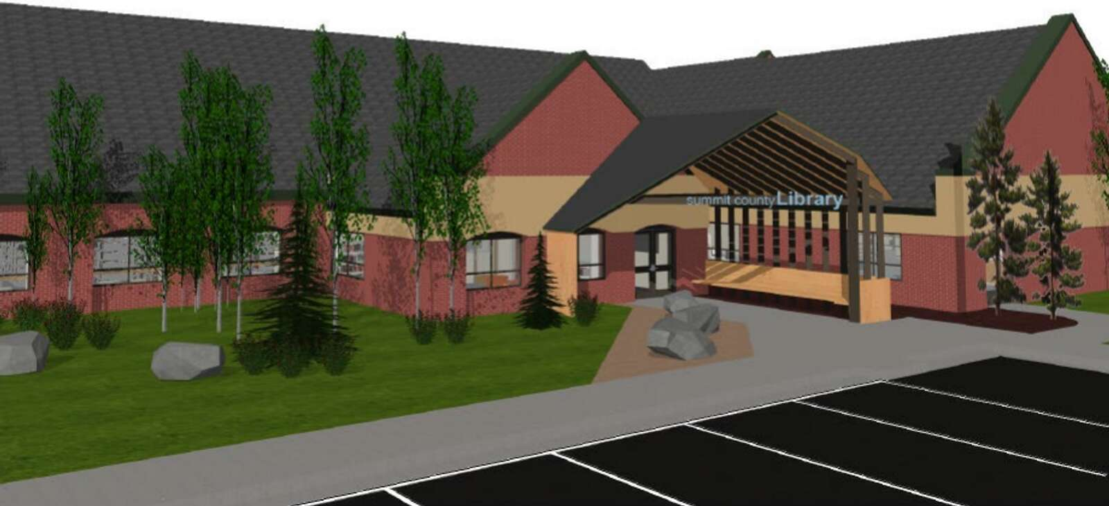 A rendering of the proposed new entrance to the Frisco Main Library u2014 part of the Summit County Library building project u2014 is shown.   Rendering from Silverthorne Town Council packet