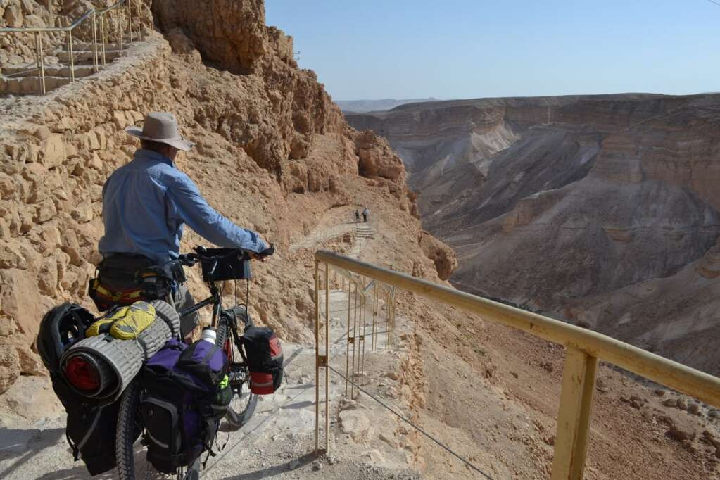 Graeme descending a rough, steep trail at Masada, site of Herod's Palace, Israel.