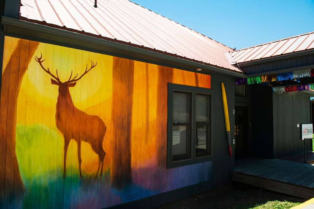 Basalt artist Charles Andrade stag is prominently and colorfully displayed on the Art Base building on Wednesday, June 9, 2021. (Kelsey Brunner/The Aspen Times)