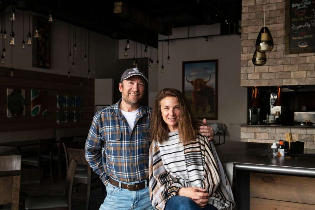 Steve Humble and Robin Humble stand in their restaurant Free Range Kitchen and Wine Bar in Basalt on Friday, April 23, 2021. The two will be building a new location for their restaurant with a planned fall opening date. (Kelsey Brunner/The Aspen Times)