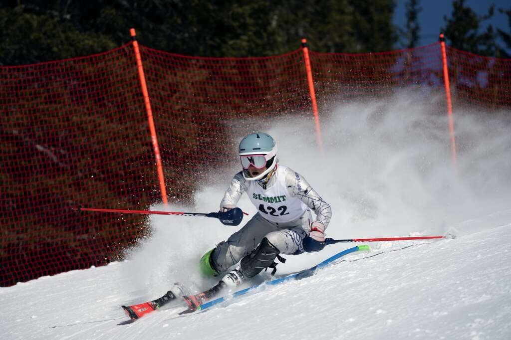 Summit High School Alpine ski team racer Jenna Sheldon navigates gates while skiing the slalom course during the Colorado High School State Alpine Ski Championships at Loveland Ski Area on Friday, March 12, 2021.   Photo by Jason Connolly / Jason Connolly Photography