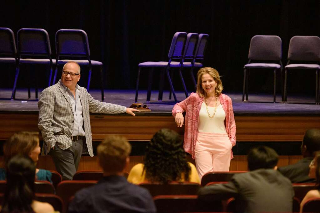 Aspen Opera Theater and VocalARTS co-directors Patrick Summers and Renée Fleming at a recent master class with students at the Wheeler Opera House.