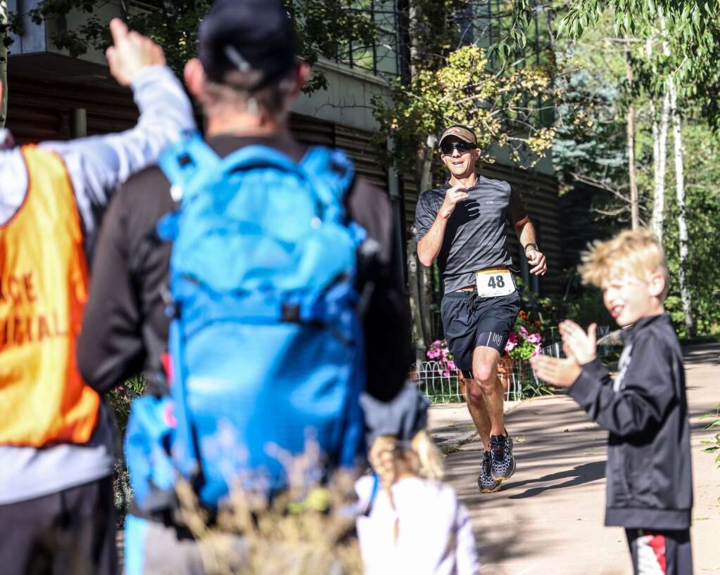 Snowmass Village's Patrick Faurer competes in the Golden Leaf half marathon on Saturday, Sept. 18, 2021, in Aspen. Photo by Austin Colbert/The Aspen Times.