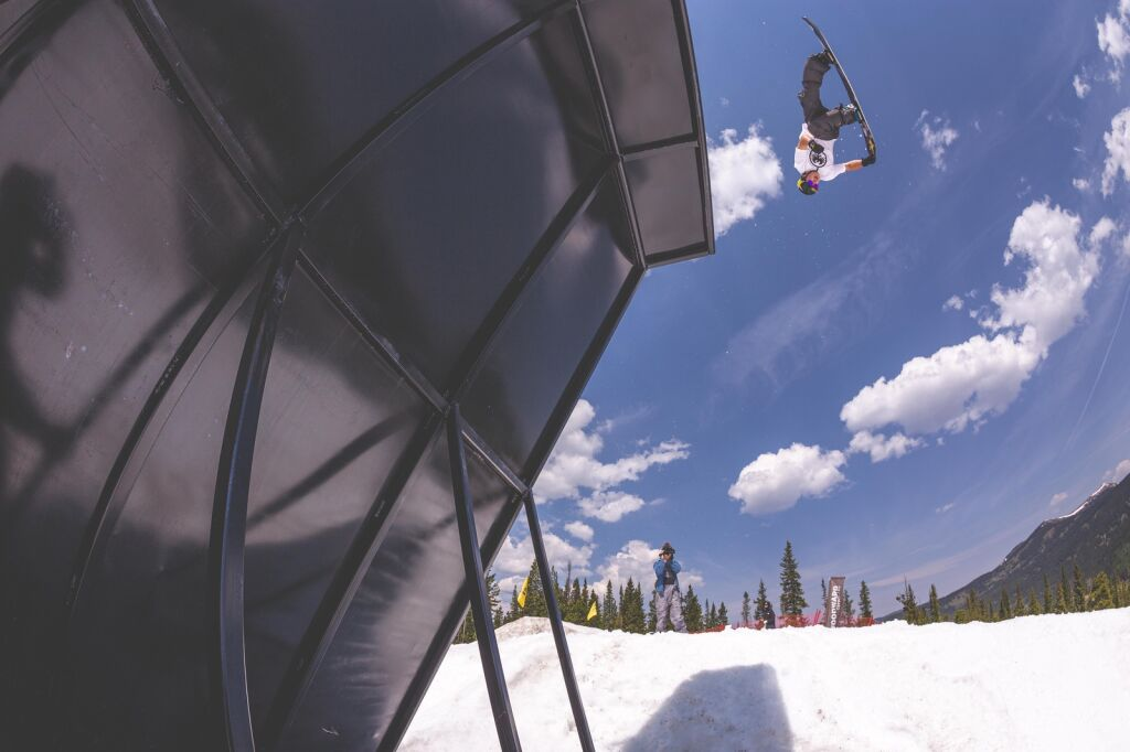 US snowboard pros counsel summer campers at Woodward Copper park