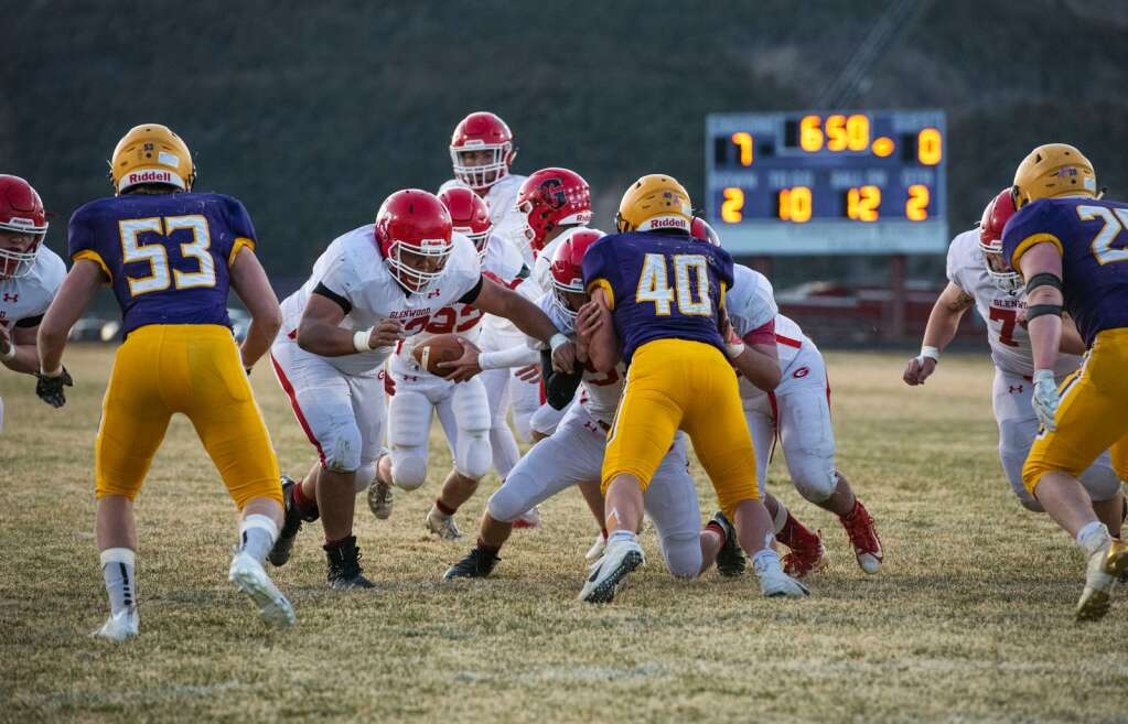 Glenwood Springs freshman quarterback Joaquin Sandaval passes the ball during the second down in a game at Basalt High School on Friday, April 9, 2021. (Kelsey Brunner/The Aspen Times)