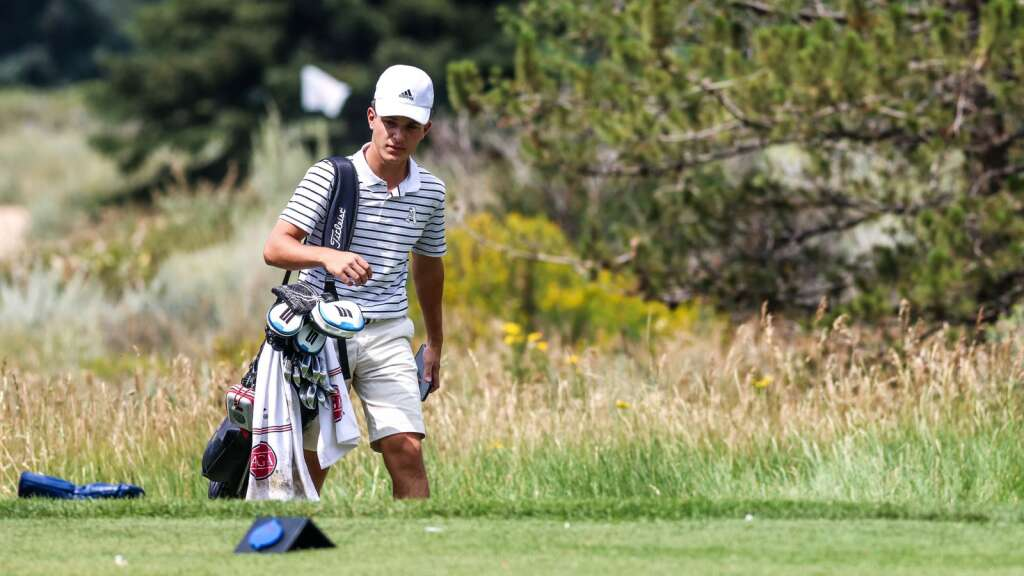 Aspen High School senior Nic Pevny walks up to the tee box during the Skiers' home golf tournament on Monday, Aug. 16, 2021, at Aspen Golf Club. Photo by Austin Colbert/The Aspen Times.
