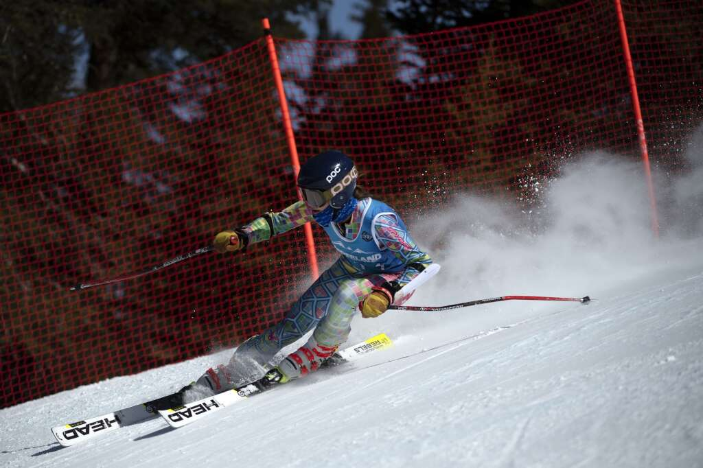 A high school Alpine ski team racer competes in the girls giant slalom race during the Colorado High School State Alpine Ski Championships at Loveland Ski Area on Friday, March 12, 2021.   Photo by Jason Connolly / Jason Connolly Photography