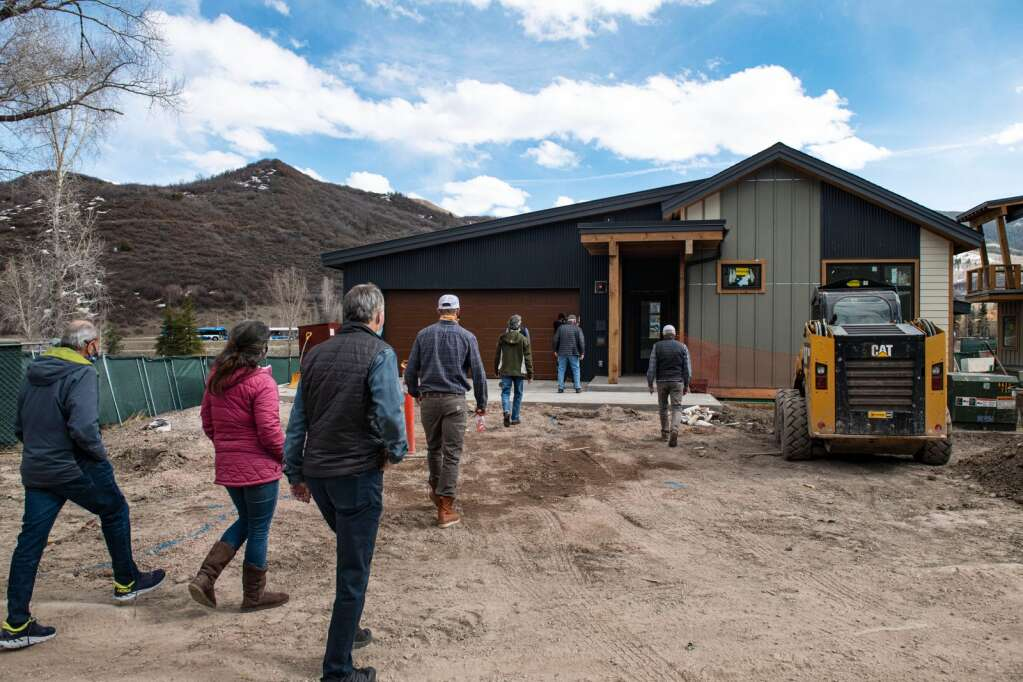 Snowmass Town Council tour the Coffey Place workforce housing project in Snowmass Village on Monday, April 12, 2021. (Kelsey Brunner/The Aspen Times)