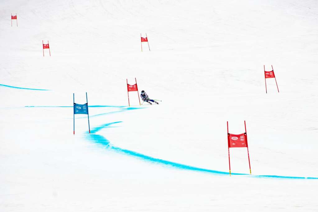 American alpine skier Dasha Romanov competes in the Women's Super G National Championships at Aspen Highlands on Tuesday, April 13, 2021. (Kelsey Brunner/The Aspen Times)
