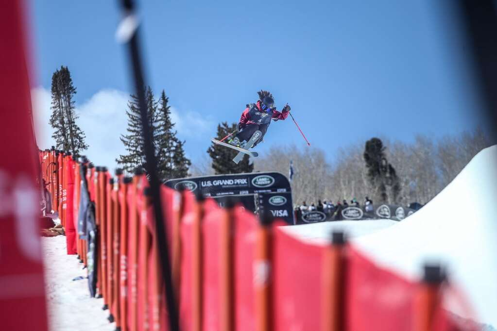 Great Britain's Zoe Atkin competes in the women's freeski halfpipe qualifier of the Land Rover U.S. Grand Prix and World Cup on Friday, March 19, 2021, at Buttermilk Ski Area in Aspen. Photo by Austin Colbert/The Aspen Times.