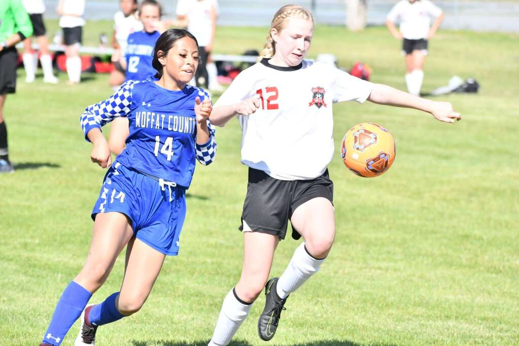 Zicalaly Hernandez, left, defends a Grand Valley player during Moffat County girls soccer's home finale Thursday in Craig. | Andy Bockelman/For the Craig Press